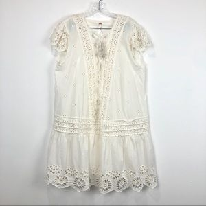 Free People Esperanza Eyelet Mini Ivory Size XL